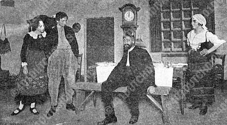 De zwerver (Le chemeniau), van Xavier Leroux, 15 november 1919. Een uitvoering van N.V.Nationale Opera. , V.l.n.r. Magda Litef (Aline), Rudolf van Schaik (Antoon), de zwerver (Anton Dirks) en Antoinette (Greta Santhagens-Manders).